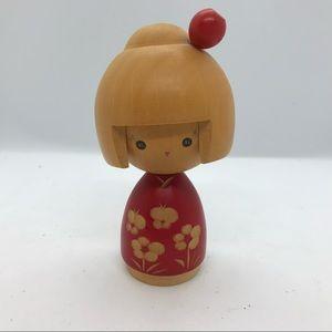 "Japanese Kokeshi Doll 4"" Vintage Wooden Statue"